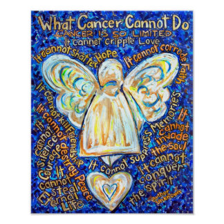Blue and Gold Cancer Angel Poster