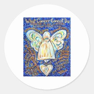 Blue and Gold Cancer Angel Round Sticker