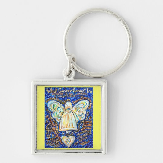 Blue and Gold Cancer Cannot Angel Art Key chain
