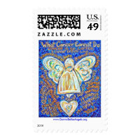 Blue and Gold Cancer Cannot Do Angel Postage Stamp
