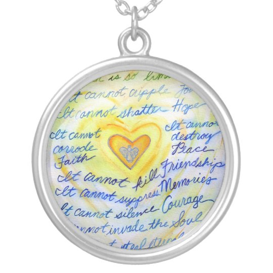 Blue and Gold Cancer Cannot Do Necklace Jewelry