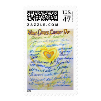 Blue and Gold Cancer Cannot Do Postage Stamp