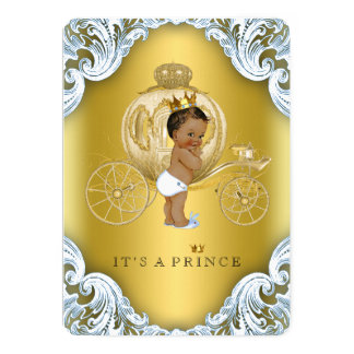 Blue and Gold Carriage Ethnic Prince Baby Shower Card