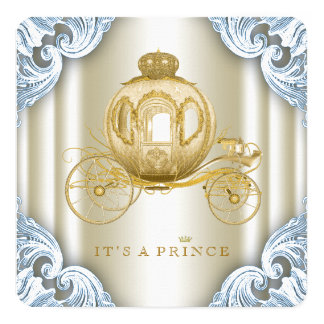 Blue and Gold Carriage Prince Baby Shower Card