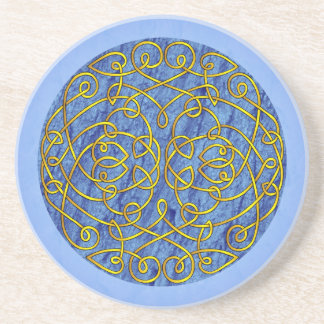 Blue and Gold Celtic Art Curls Drink Coaster