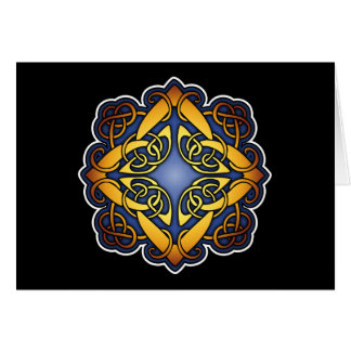 Blue and Gold Celtic Knotwork Card