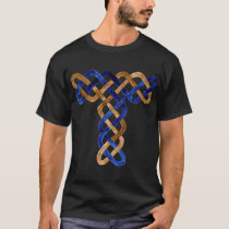 Blue and Gold Celtic Knotwork Letter T T-Shirt