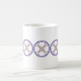 Blue and Gold Circles Fractal Art Coffee Mug