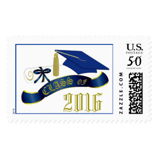 Blue and Gold Class Of 2016 Graduation Stamp