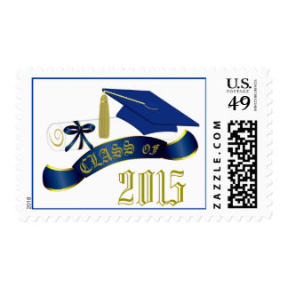 Blue and Gold Class Of Graduation Stamp