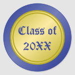 Blue and Gold Class of Round Sticker
