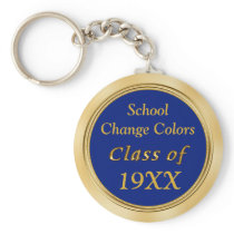 Blue and Gold Class Reunion Favors Your TEXT COLOR Keychain