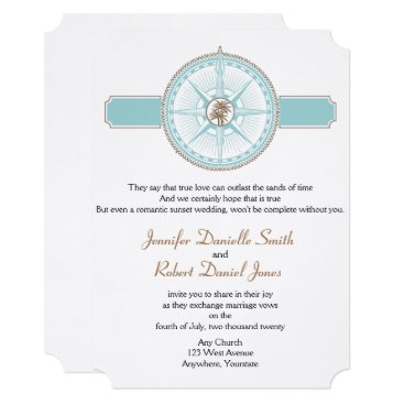 Beach Themed Blue and Gold Compass Rose Beach Wedding Card