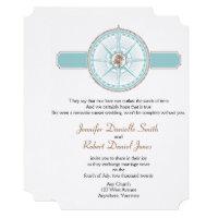 Blue and Gold Compass Rose Beach Wedding Invitation