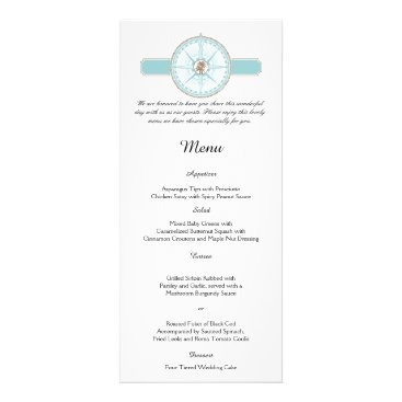 Beach Themed Blue and Gold Compass Rose Beach Wedding Menu