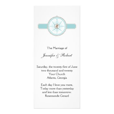 Beach Themed Blue and Gold Compass Rose Beach Wedding Program