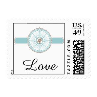 Blue and Gold Compass Rose Beach Wedding Stamp