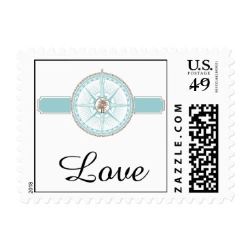 Beach Themed Blue and Gold Compass Rose Beach Wedding Stamp