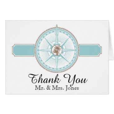 Beach Themed Blue and Gold Compass Rose Beach Wedding Thank You Card