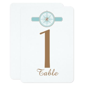 Beach Themed Blue and Gold Compass Rose Wedding Table Number Card