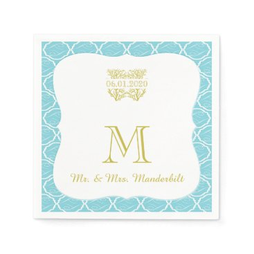 Beach Themed Blue and Gold Coral Beach Wedding Napkin