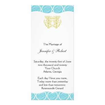 Beach Themed Blue and Gold Coral Beach Wedding Program