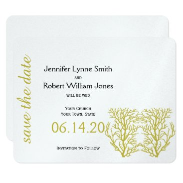 Beach Themed Blue and Gold Coral Beach Wedding Save the Date Card
