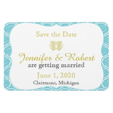 Beach Themed Blue and Gold Coral Beach Wedding Save the Date Magnet