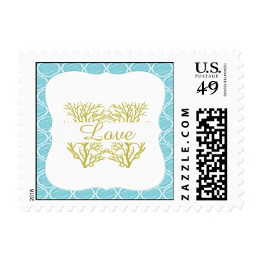 Beach Themed Blue and Gold Coral Beach Wedding Stamp