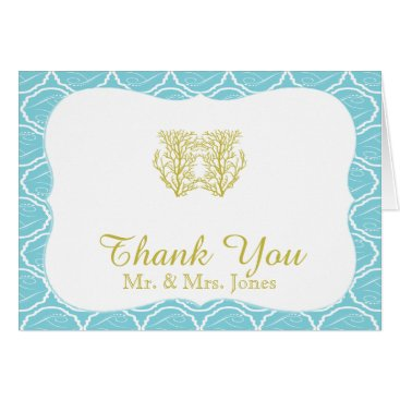 Beach Themed Blue and Gold Coral Beach Wedding Thank You Card