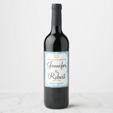 Beach Themed Blue and Gold Coral Beach Wedding Wine Label