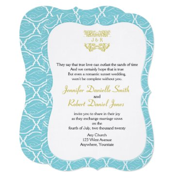 Beach Themed Blue and Gold Coral Rose Beach Wedding Card