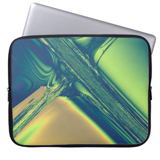 Blue and Gold Crossing Fractal Laptop Sleeve