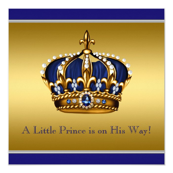 blue and gold crown little prince baby shower card | zazzle, Baby shower invitations