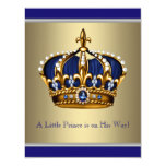 Blue and Gold Crown Little Prince Baby Shower Invitation