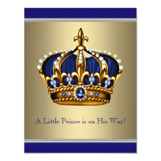 Blue and Gold Crown Little Prince Baby Shower 4.25x5.5 Paper Invitation Card