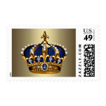 Blue and Gold Crown Postage Stamps