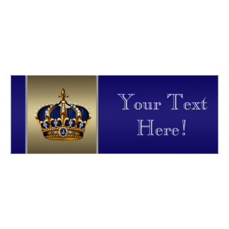 Blue and Gold Crown Prince Baby Shower Banner Poster
