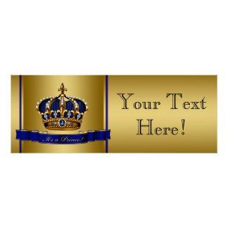 Blue and Gold Crown Prince Baby Shower Poster
