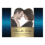 Blue and Gold Damaks Save the Date Photo Personalized Invite