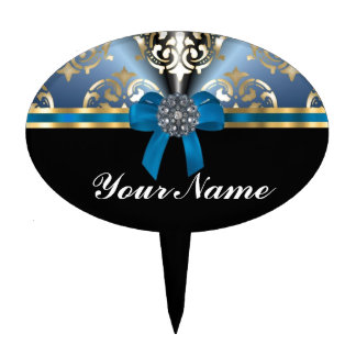 Blue and gold damask oval cake toppers