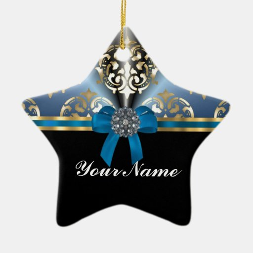 Blue and gold damask double sided star ceramic christmas for Blue and gold christmas
