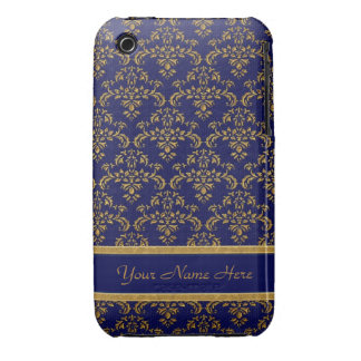 Blue and Gold Damask iPhone 3 Case