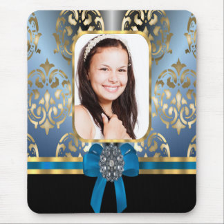 Blue and gold damask mouse pad