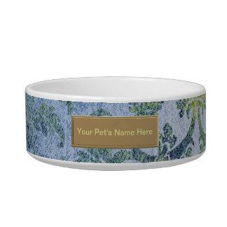 Blue and Gold Damask Pattern Pet Bowl