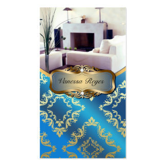 Blue and Gold Damask Photo Business Card