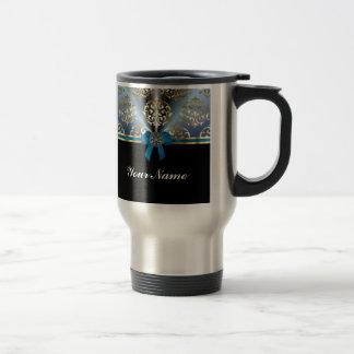 Blue and gold damask travel mug