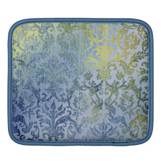 Blue and Gold Damask Wallpaper Pattern iPad Sleeves