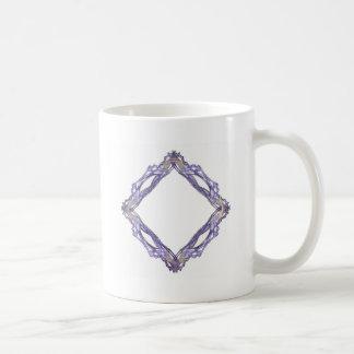 Blue and Gold Diamond Fractal Frame Coffee Mug