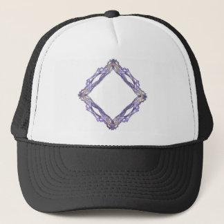 Blue and Gold Diamond Fractal Frame Trucker Hat